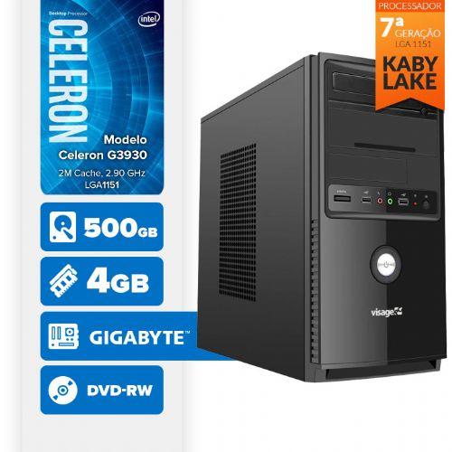 VISAGE PC BLEU G3930 - 245GD ( Celeron G3930 / 4GB / HD 500GB / MB GIGABYTE / DVD-RW / LINUX )