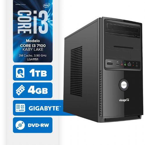Visage PC BLEU I3 7100 - 241TGD ( Core I3 7100 / 4GB / 1TB / MB GIGABYTE / DVD-RW / LINUX )