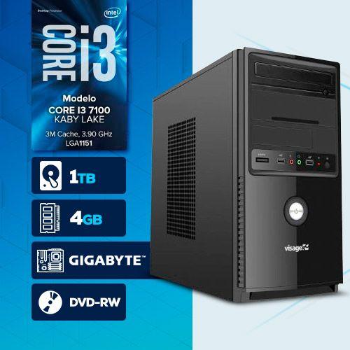 Visage PC BLEU I3 7100 - 241TGD ( Core I3 7100 / HD 1TB / 4GB RAM / MB GIGABYTE / DVD-RW / LINUX )
