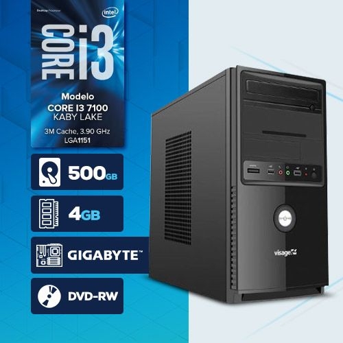 VISAGE PC BLEU I3 7100 - 245GD ( Core i3 7100 / HD 500GB / 4GB RAM / MB GIGABYTE / DVD-RW / LINUX )