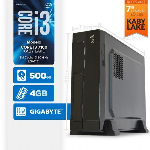 VISAGE PC BLEU I3 7100 - 145G SLIM (CORE i3 7100 / 4GB / HD 500GB / MB GIGABYTE / LINUX )