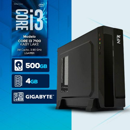 VISAGE PC BLEU I3 7100 - 145G SLIM (CORE i3 7100 / HD 500GB / 4GB RAM / MB GIGABYTE / LINUX )