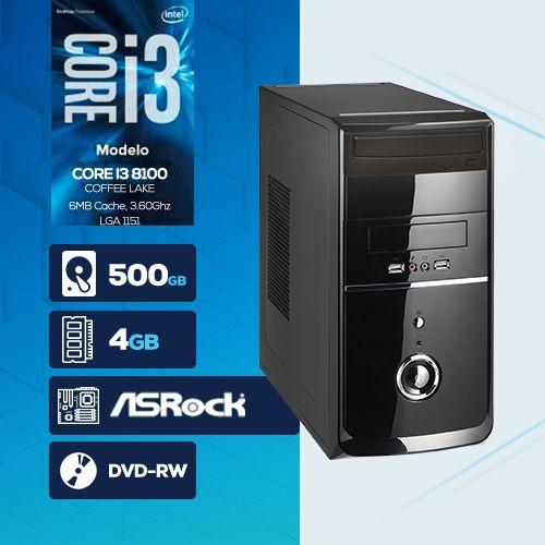 VISAGE PC BLEU I3 8100 - 245RD ( Core I3 8100 / HD 500GB / 4GB RAM / DVD-RW / MB ASROCK / LINUX )
