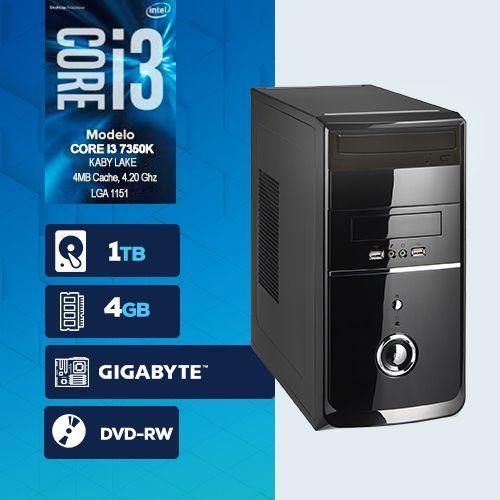 VISAGE PC BLEU I3 7350K - 245GD (CORE I3 7350K / HD 1TB / 4GB RAM / DVD-RW / MB GIGABYTE / LINUX)