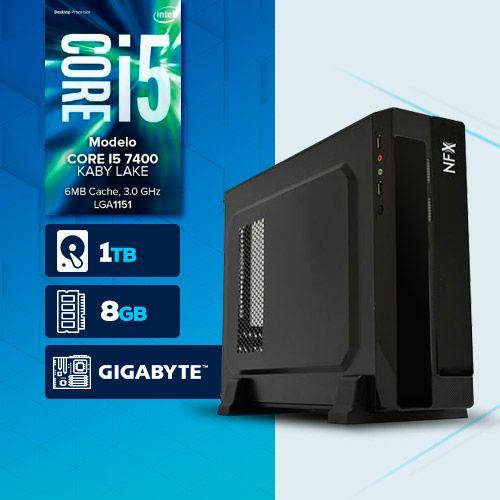VISAGE PC BLEU I5 7400 - 181TG SLIM ( Core I5 7400 / HD 1TB / 8GB RAM / MB GIGABYTE / LINUX )