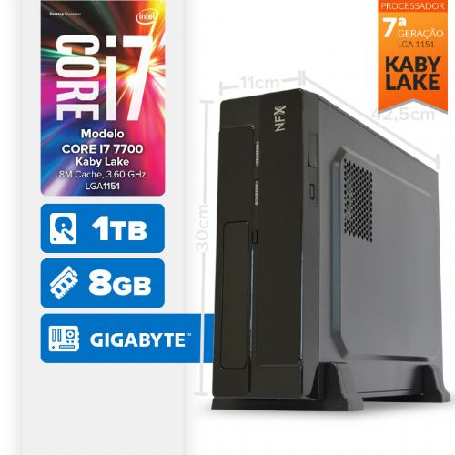 VISAGE PC BLEU I7 7700 - 181TG SLIM ( Core I7 7700 / 8GB / 1TB / MB GIGABYTE / LINUX )