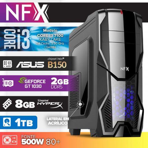 Micro NFX Gamer I3 7100 - 481TABD GT1030 ( Core I3 7100 / VGA GT1030 2GB DDR5 / 8GB / HD 1TB / MB ASUS Chipset Intel® B150 / 500w 80+ / DVD-RW / LINUX )