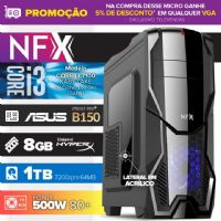 Micro NFX Gamer I3 7100 - 481TABD ( Core I3 7100 / 8GB / HD 1TB / MB ASUS Chipset Intel® B150 / 500w 80+ / DVD-RW / LINUX )