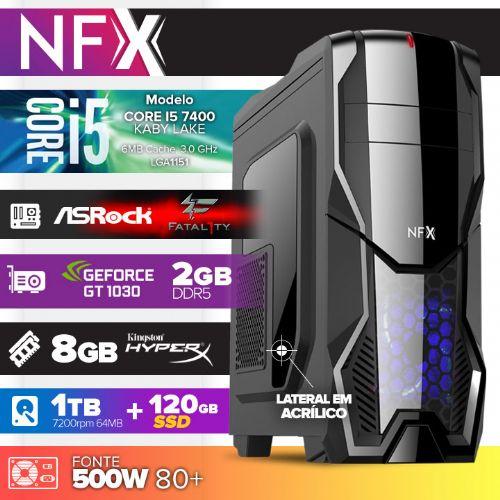 Micro NFX Gamer I5 7400 - 481TRBD GT1030 ( Core I5 7400 / VGA GT1030 2GB DDR5 / 8GB / HD 1TB + 120GB SSD / MB Asrock Fatal1ty / 500W 80+ / DVD-RW / LINUX )