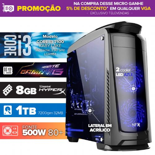 VISAGE PC Gamer I3 7100 - 481TGBD ( Core I3 7100 / 8GB / HD 1TB / MB GIGABYTE GAMING-3/ 500w 80+ / DVD-RW / LINUX )