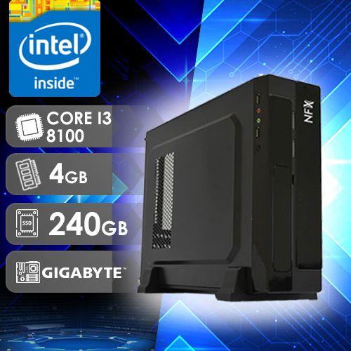 NFX PC I3 8100 - 142G SSD SLIM ( CORE I3 8100 / SSD 240GB / 4GB RAM / MB GIGABYTE / LINUX )