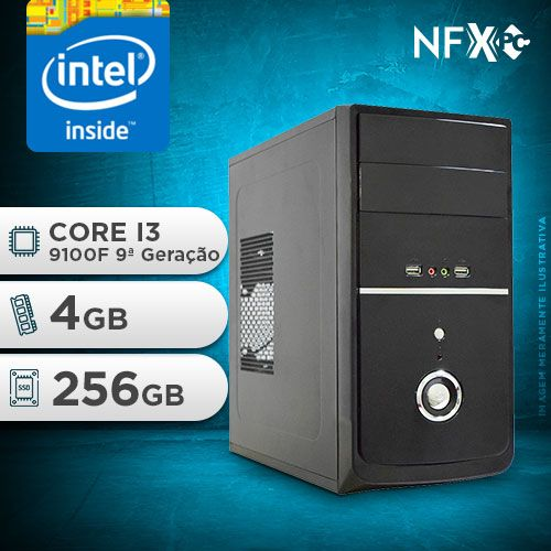 NFX PC I3 9100F - 242G SSD ( INTEL CORE I3 9100F [9ª GERAÇÃO] / 4GB / SSD 256GB / PL VÍDEO GT210 1GB )