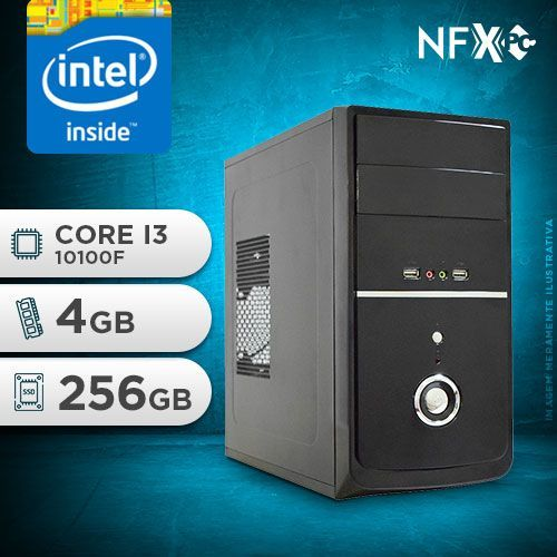NFX PC I3 10100F - 242 SSD ( INTEL CORE I3 10100F [10ª GERAÇÃ0] / 4GB / SSD 256GB / GT210 1GB )
