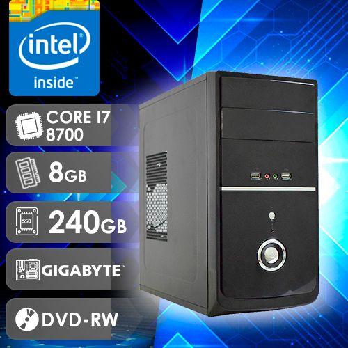 NFX PC I7 8700 - 282GD SSD ( Core I7 8700 / SSD 240GB / 8GB RAM / DVD-RW / MB GIGABYTE / LINUX )