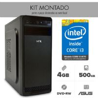 Kit Montado - I3 4170 / 4GB RAM / HD 500GB / MB ASUS  H81M-CS/BR / DVD / Gabinete 4 baias