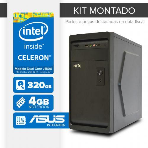 Kit montado Processador Intel Dual Core J1800 / 4GB de RAM / 320GB de HD / MB ASUS / 1 serial