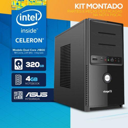 KIT MONTADO - Processador Intel Dual Core J1800 / 4GB RAM / HD 320GB  / 1x SERIAL / MB ASUS / LINUX