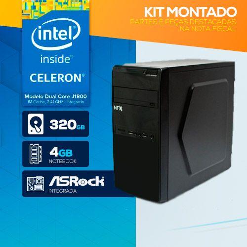 KIT MONTADO - Processador Intel Dual Core J1800 / HD 320GB  / 4GB RAM / 1x SERIAL / MB ASUS / LINUX
