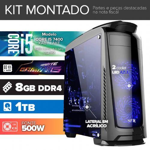 Kit montado GAMER Processador Intel I5 7400 / 8GB DDR4 / 1TB de HD / MB GIGABYTE GAMING / DVD-RW / Gab. DARKFACE 2 com LED)