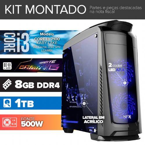 Kit montado GAMER Processador Intel I3 7100 / 8GB DDR4 / 1TB de HD / MB GIGABYTE GAMING / DVD-RW / Gab. DARKFACE 2 com LED)
