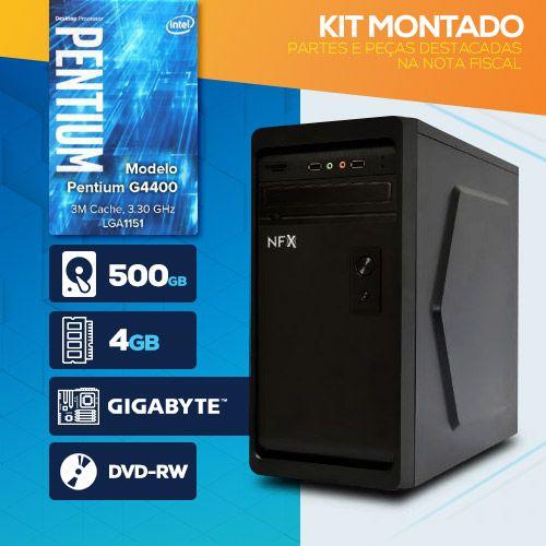 KIT MONTADO - Processador Intel G4400 / HD 500GB / 4GB RAM / MB GIGABYTE / DVD-RW / Linux