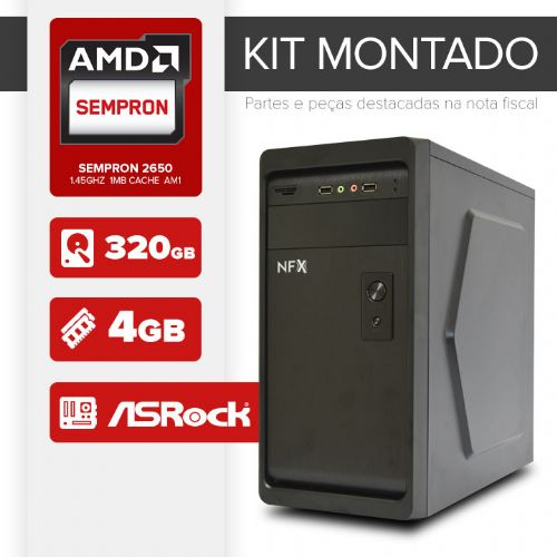 Kit montado Processador AMD Sempron 2650 / 4GB de RAM / 320GB de HD / MB ASRock / Linux