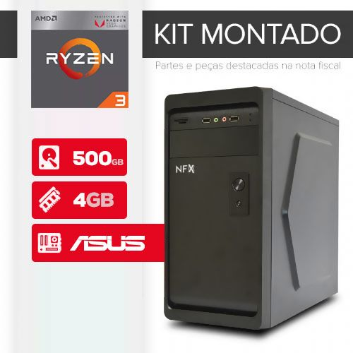 KIT MONTADO - Processador AMD RYZEN 3 2200G / 4GB / HD 500GB / MB ASUS / LINUX