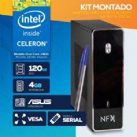 KIT MONTADO - Processador Intel Dual Core J1800 / SSD 120GB / 4GB RAM / MB ASUS / VESA / LINUX