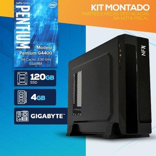 KIT MONTADO - Processador INTEL Pentium G4400T / SSD 120GB / 4GB RAM / MB GIGABYTE / Gabinete SLIM / LINUX