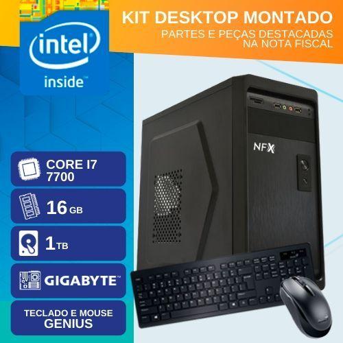 KIT MONTADO - INTEL I7 7700 - 2161TG (CORE I7 7700 / HD 1TB / 16GB RAM / MB GIGABYTE / TECLADO USB / MOUSE USB / LINUX)