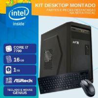 KIT MONTADO - INTEL I7 7700 - 2161TR ( CORE I7 7700 / HD 1TB / 16GB RAM / MB ASROCK / TECLADO USB / MOUSE USB / LINUX )