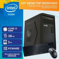 KIT MONTADO - INTEL I5 8400 - 2161TP ( CORE I5 8400 / HD 1TB / 16GB RAM / MB PCWARE / TECLADO USB / MOUSE USB / LINUX )