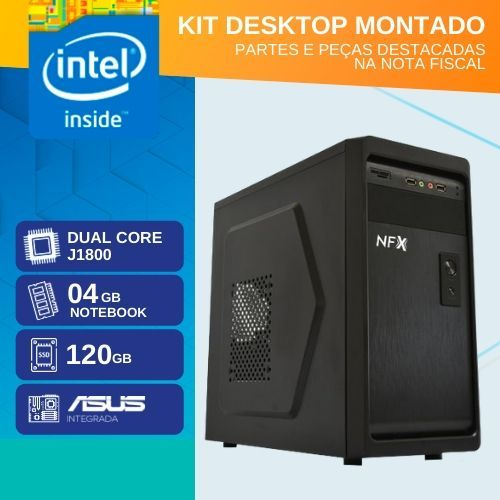 KIT MONTADO - MB ASUS INTEGRADA COM INTEL DUAL CORE J1800 / SSD 120GB / 4GB RAM / 1x SERIAL )
