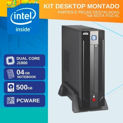 KIT MONTADO - MB PCWARE INTEGRADA COM INTEL DUAL CORE J1800 / HD 500GB / 4GB RAM / GABINETE MINI-ITX PDV