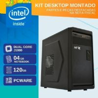 KIT MONTADO - MB PCWARE INTEGRADA COM INTEL DUAL CORE J1800 / SSD 120GB / 4GB RAM / GABINETE 2 BAIAS