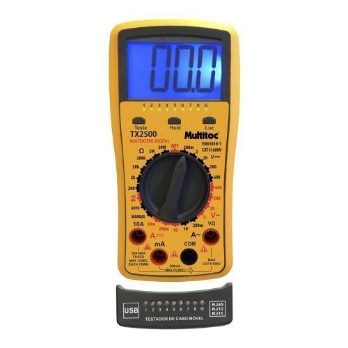 Kit Testador de Cabos e Multimetro RJ11/45 TX2500 com Bateria