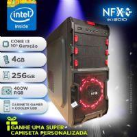 NFX PC I3 10105 - 342G SSD ( CORE I3 10105 [10ª GERAÇÃO] / 4GB / SSD 256GB / FONTE 400W RGB / GABINETE GAMER NFX SOLDIER [VERMELHO] ) <B>** EDIÇÃO LIMITADA DE ANIVERSÁRIO !</B>